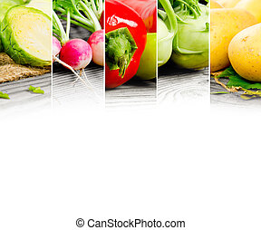 Vegetable mix - Photo of abstract vegetable mix with white...