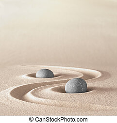 zen garden meditation stone background with copy space...