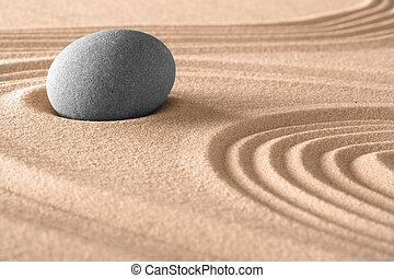 zen meditation stone background in Japanese sand garden. Spa...