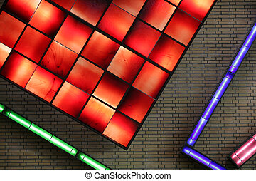 electrical neon light indoor in a building wall