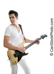 Musician young man playing electric guitar isolated on white