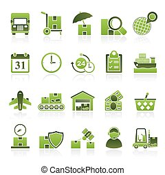 Cargo, shipping and Logistics - vector icon set