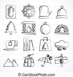 Winter, Sport and relax icons - vector icon set, Created For...