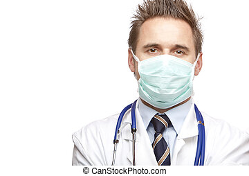 self confident medical doctor  with mask and stethoscope