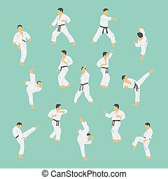 Group of the men showing karate