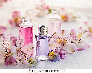 essential aromatic oils - Bottles of essential aromatic oils...