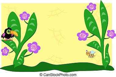 Garden with Flowers, Toucan, and Be