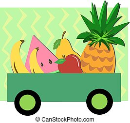 Healthy Food Wagon with Fruits