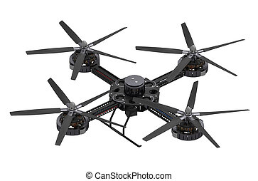 black quadcopter drone with camera isolated on white...