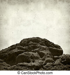 textured old paper background with ladscape of Gran Canaria,...