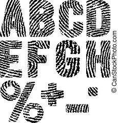 fingerprints - font in shape fingerprints