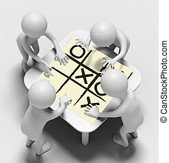 Funny characters talk over sheet with noughts and crosses -...