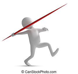 Funny character throws a spear at athletic competition 3d...