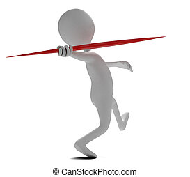Funny character throws a spear at athletic competition. 3d...