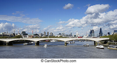 London skyline, include Waterloo Bridge, seen from...