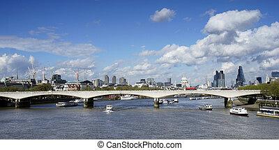 London skyline, include Waterloo Bridge, seen from...