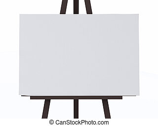 A 3d white canvas on an easel.