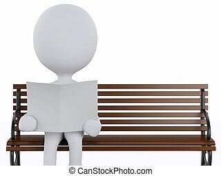 3d white people reading on a wooden bench. - 3d...