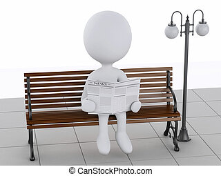 3d white people reading on a wooden bench - 3d illustration...