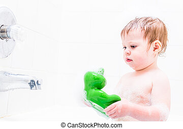 Bath time - Baby girl having a good time during the bath...