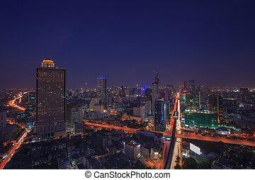 beautiful city scape dusky with blue sky of bangkok sky...
