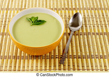 Green Pea soup in a bowl