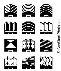 Various types of industrial roofs - vector illustration