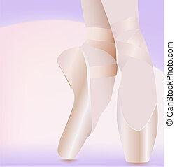 Ballet Shoes - elegant ballerina feet, standing on ballet...