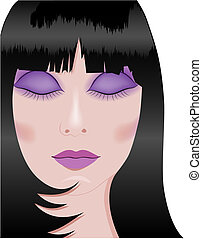 brunette woman - vector illustration of a beautiful brunette...