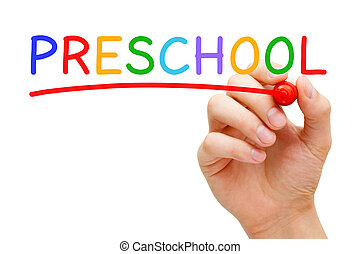 Preschool Concept - Hand writing Preschool with marker on...