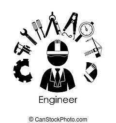Engineer design over white background, vector illustration