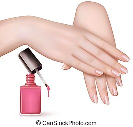 Female young hands with a pink nail polish bottle. Vector.