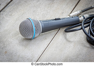 Black microphone.