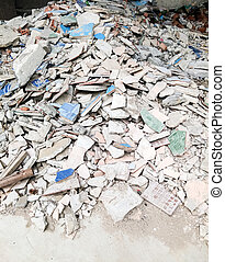 Pile of broken tiles from the renovate house.