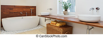 African bathroom - Interior of bathroom in african style -...
