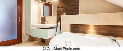 Stylish designed bathroom - Panoramic view of stylish...
