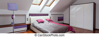 Pink, grey and violet bedroom