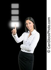 Brunette businesswoman touching virtual pad transparent key...