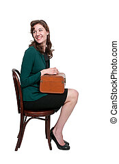Beautiful Woman with Suitcase - Beautiful woman sitting in a...