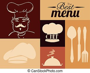 Restaurant design - Restaurant design over beige background...