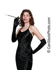 Woman Movie Star Smoking - Beautiful vintage woman actor...