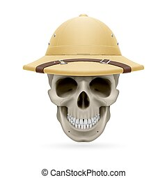 Hat skull - Pith helmet on skull isolated on white...