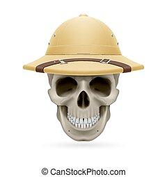 Hat skull - Pith helmet on skull isolated on white...