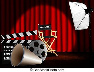 Director chair and equipment with red curtain