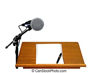 Microphone on podium with blank paper and pen