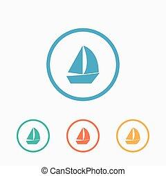Sail boat icon vector, flat ship sign