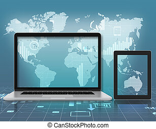Laptop, tablet on background of world map
