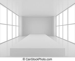 Empty fashion podium in the large, bright lobby