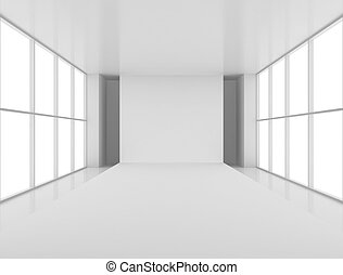 Empty white podium aspirant away in a large, bright room