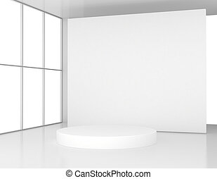 White room with a round pedestal